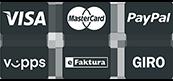 VISA / MasterCard / PayPal / Vipps / eFaktura / GIRO